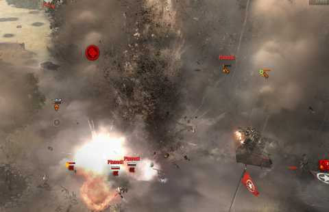 Rocket Artillery raises dark clouds of dirt and shrapnel.