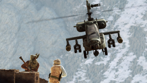 In one spot, you'll work the guns on a helicopter, giving you plenty of chances to blow things up.