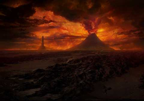 A View of Barad-dûr and Mount Doom in Mordor.
