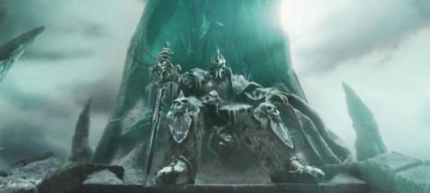 The Lich King sitting on the Frozen Throne
