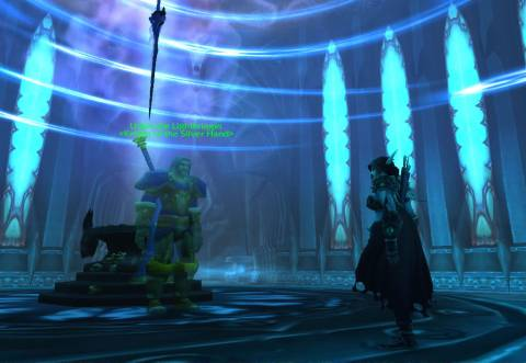 Uther the Lightbringer standing before Frostmourne in the Halls of Reflection