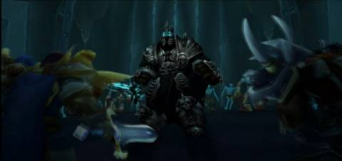 The Lich King talking to Bolvar and Saurfang outside of the Wrathgate