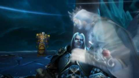 Arthas lying in his fathers arms in his last moments