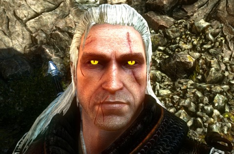 Geralt's glowing yellow eyes and white hair are both a result of the witcher trials. (Modded for brighter yellow eyes and more scars)