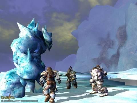 Dwarves fighting an Ice golem