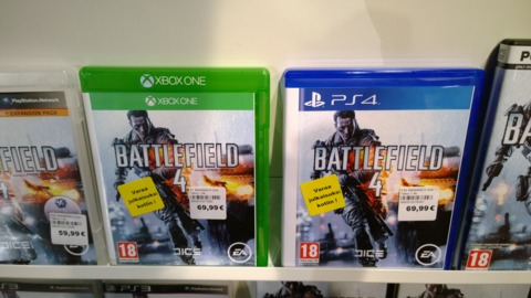 The game boxes for both consoles are the same size.