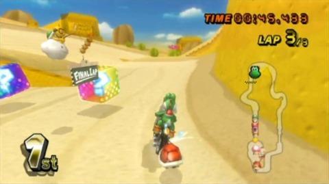 Lakitu's Final Lap Sign as seen in Mario Kart Wii, signaling the final lap for Yoshi.