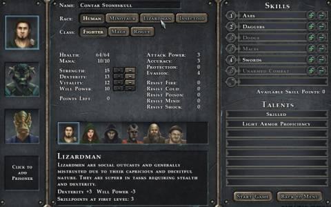 Character Generation Screen.
