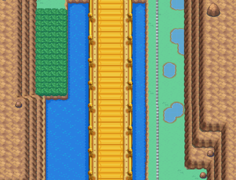 Nugget Bridge on Route 24. One of the rival battles takes place here