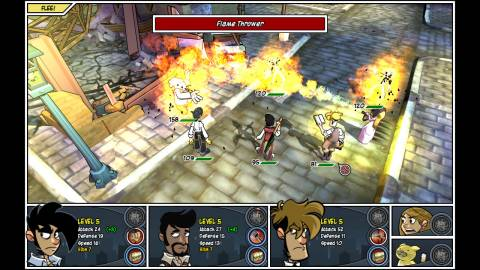 The game's turn-based combat system.