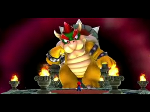 Bowser atop his throne in Super Mario Galaxy 2.