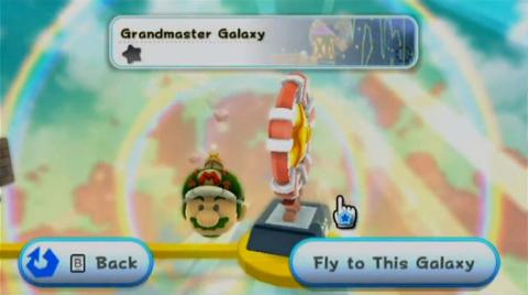 Starship Mario sits besides the Grandmaster Galaxy in World S