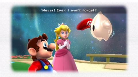 Peach as seen in Super Mario Galaxy 2 with Mario and Luma.