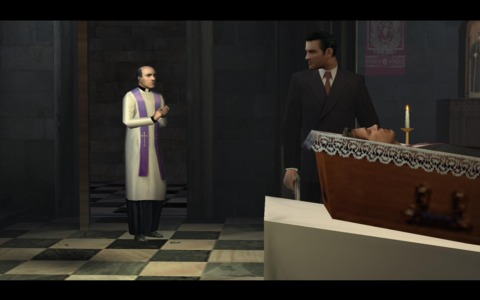 Tommy and the priest speaking in the aftermath of the shootout