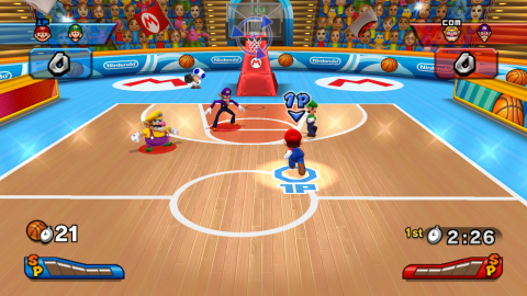 A game of basketball at Mario Stadium.