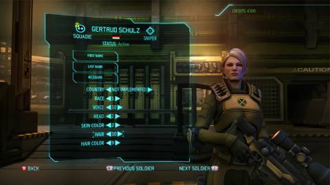 The game's character customization screen.