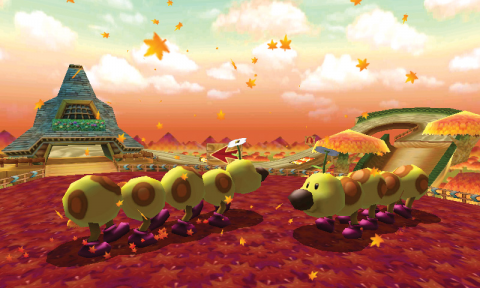 The track in Mario Kart 7 with Wigglers.