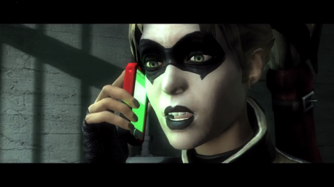 Harley Quinn makes a quick phone call from jail.