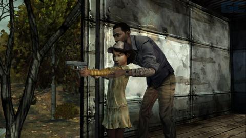 Lee teaches Clementine how to shoot a gun.