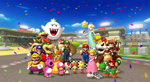The entire cast of characters in Mario Kart Wii.