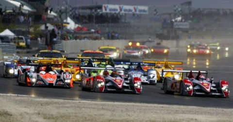Typical rolling start in the American Le Mans Series