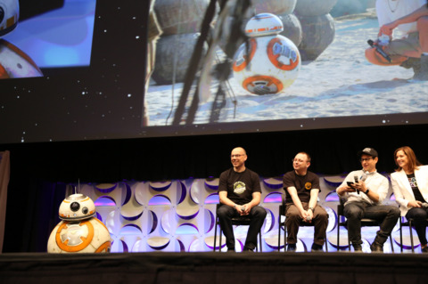 BB-8 rolling onto stage at Star Wars Celebration