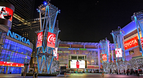 Above: The L.A. Live courtyard.
