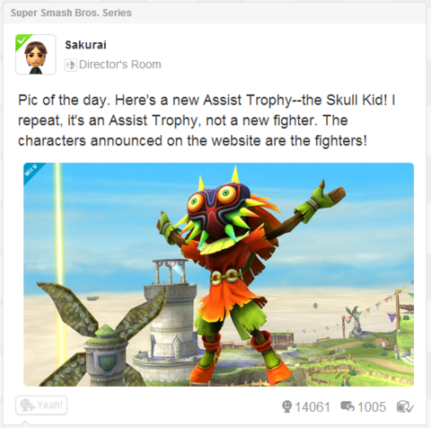 Masahiro Sakurai posting about Smash Bros. info