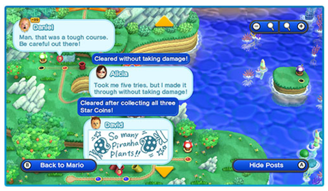 Miiverse posts being diplayed on the map in New Super Mario Bros. U