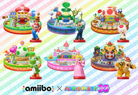 The six Mario series specific amiibo and the boards they unlock