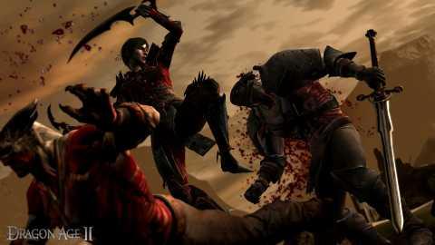 A rogue combating two Qunari