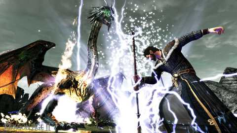 A mage fighting a dragon