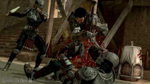 A warrior finishing off a mercenary