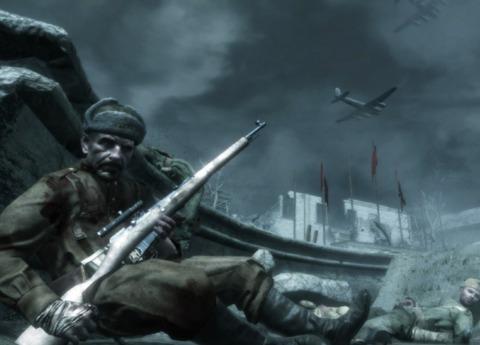 Reznov, wielding the Mosin Nagant rifle he gives to Dimitri