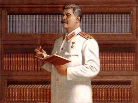 Propaganda encouraging education, featuring Stalin. The book he holds is titled