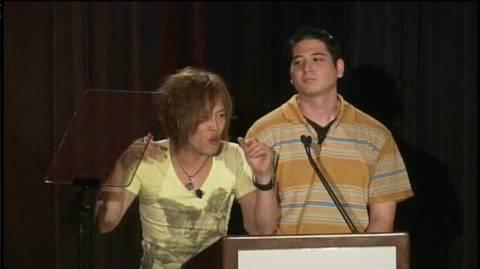 Thomas Nagano (right) with Naoki Maeda (left), presenting Dance Masters at Konami's infamous E3 2010 press conference.