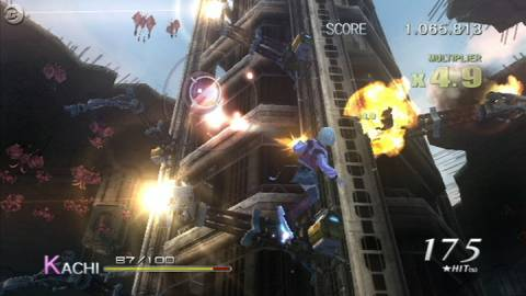 Fighting  enemies during a level.
