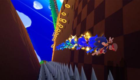 Sonic runs alongside a wall in Sonic Lost World.