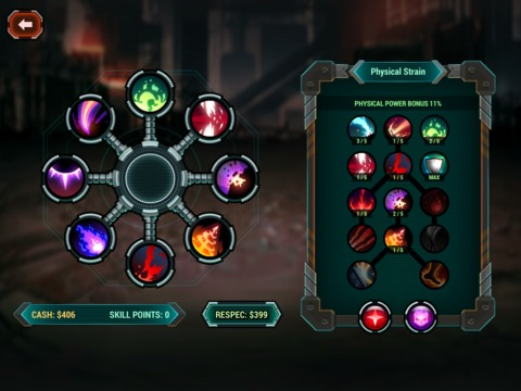 One of Sonny's skill trees. The radial menu on the left shows his available slots and the skills he has equipped.