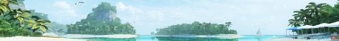 Warm sunny tropical environment full with aquatic life and exotic islands