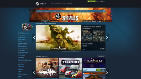 Steam Homepage, taken from 3 June 2018