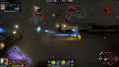The game in action, from the viewpoint of a Blue Beetle player
