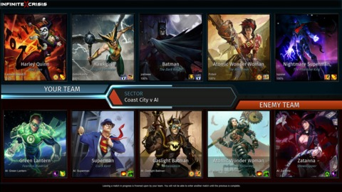 A pre-match screen displaying both teams and their selected costume variants, which were a purely aesthetic change.