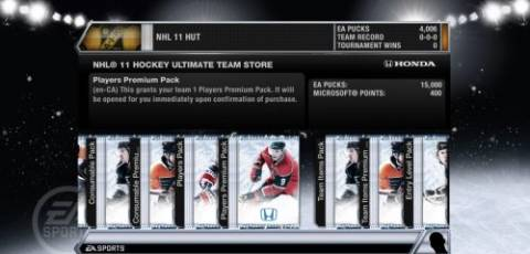 NHL 11 Ultimate Team store