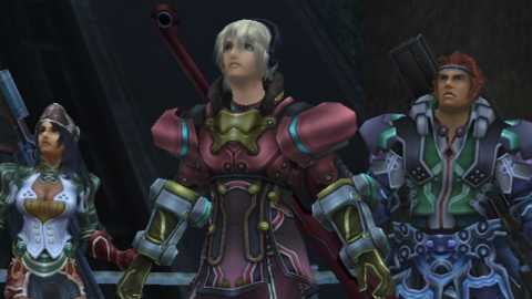 Sharla, Shulk and Reyn. All armor changes are visibly apparent in both the gameplay and cutscenes, hence interesting sartorial combinations like this.