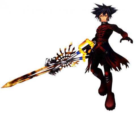 Unmasked Vanitas, wielding the incomplete X-blade.