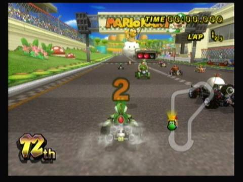 The start of the Mushroom Cup Grand Prix in Mario Kart Wii.