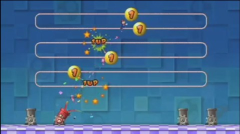 In 1-Up Blast from New Super Mario Bros. Wii, 1-Up balloons allow Mario to add 1-Ups to his score.