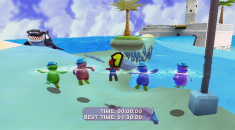 Guppy as seen in the Sea Slide Galaxy, watching Mario as the race is about to start.