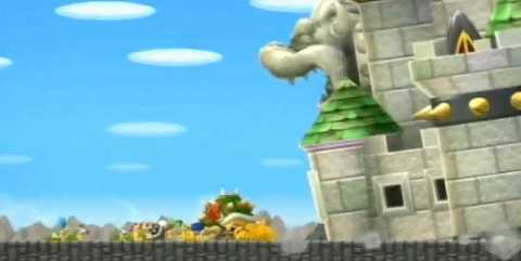 Bowser's Castle as seen in New Super Mario Bros. Wii, ready to crush Bowser & the gang.